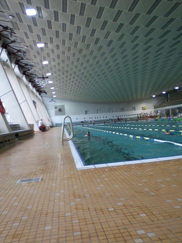Schwimmtraining in der alten Schwimmhalle am Brauhausberg.Die Anfänge mit 2.300 Meter sind gemacht.Die letzte Wende zum Ausschwimmen.