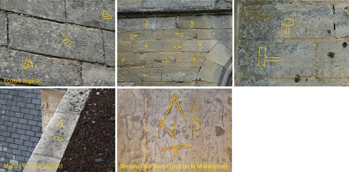 épures et marques de tâcherons sur les murs des églises de l'Eure - Les Essentiels - Connaissance n°112