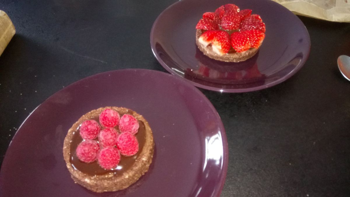 Tartelettes chocolat fondante au son d'avoine et aux fruits  3sp
