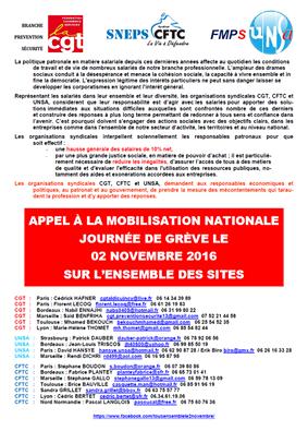 Appel à la mobilisation le 2 novembre 2016 pour une augmentation des salaires de 10%  (intersyndicale)