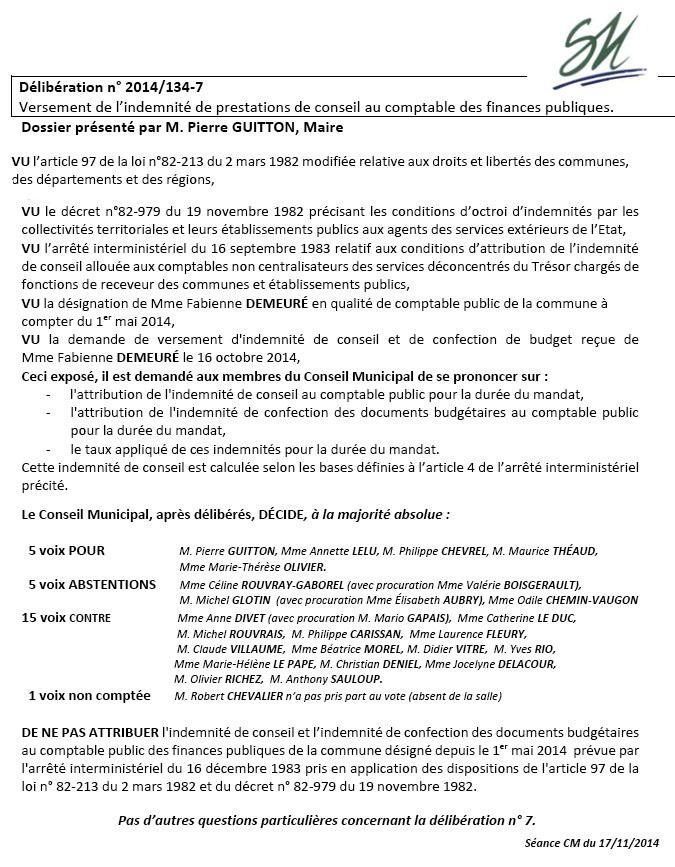 Délibération n° 2014/134-7 - Conseil municipal du 17 novembre 2014