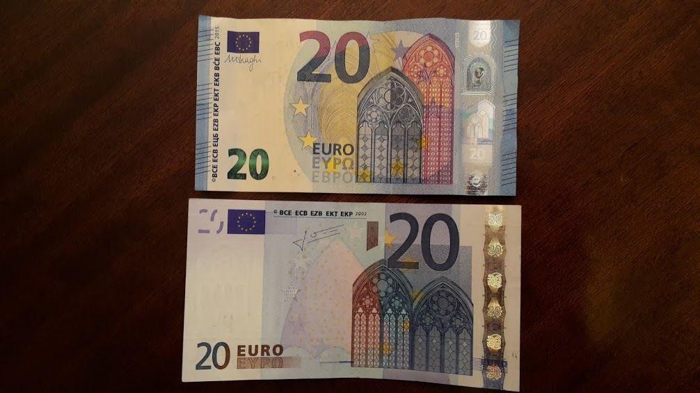 Billets de 20 Euros, nouveau et ancien