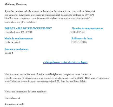 Nouvelle arnaque frauduleuse par mail: Brouteur par Ameli.fr