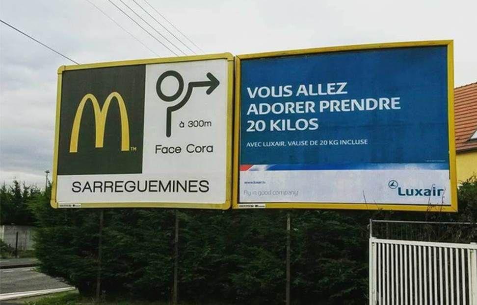 Humour publicitaire: Mac Do associé involontairement à Luxair, la compagnie aérienne