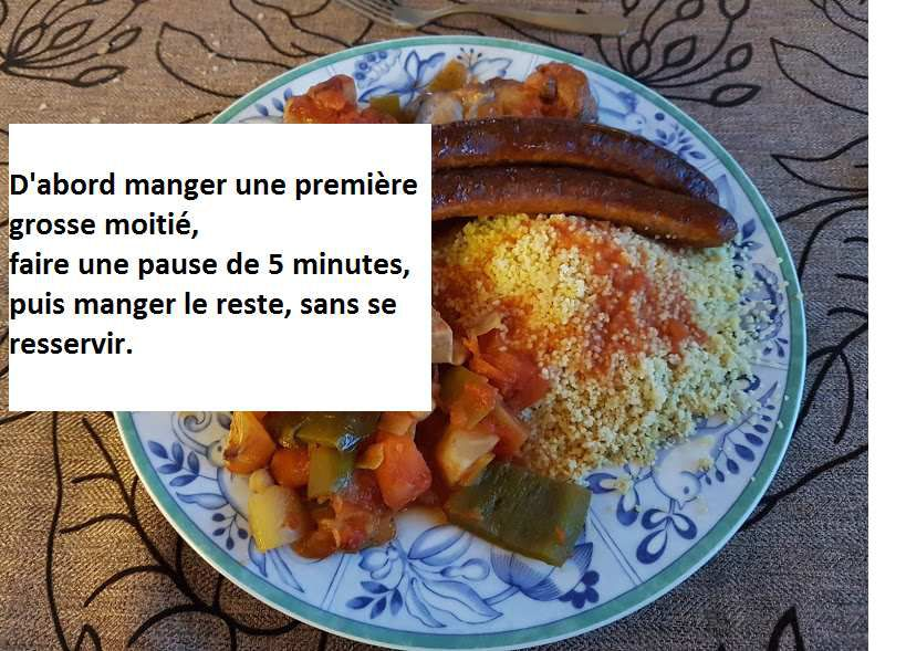 Couscous: une portion est suffisante, ne pas se resservir.