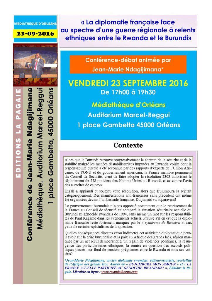 """Rappel - Conférence Amb. Jean-Marie Ndagijimana : """"La diplomatie française face au spectre d'une guerre régionale à relents ethniques entre le Rwanda et le Burundi"""