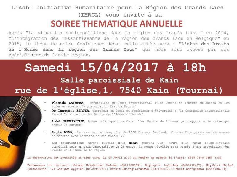 Invitation à une conférence de l'Initiative Humanitaire pour la Région des Grands Lacs - Tournai 15/04/2017