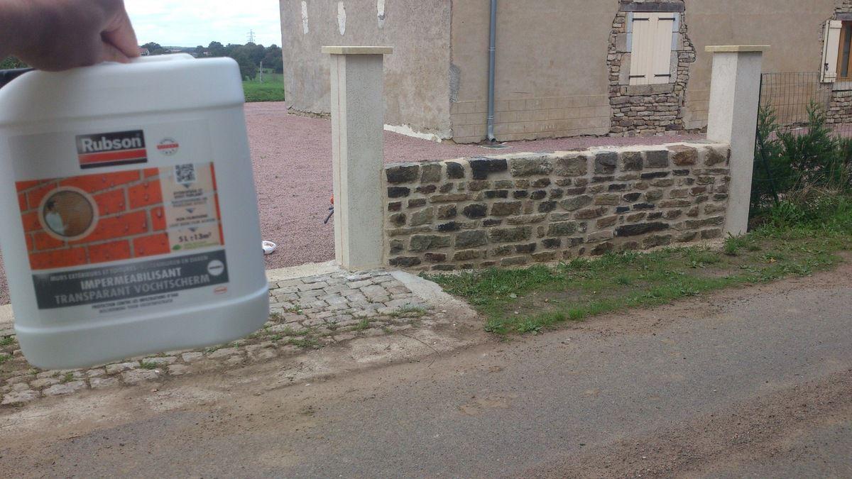 Enduit muret et piliers portail avec imperméabilisant