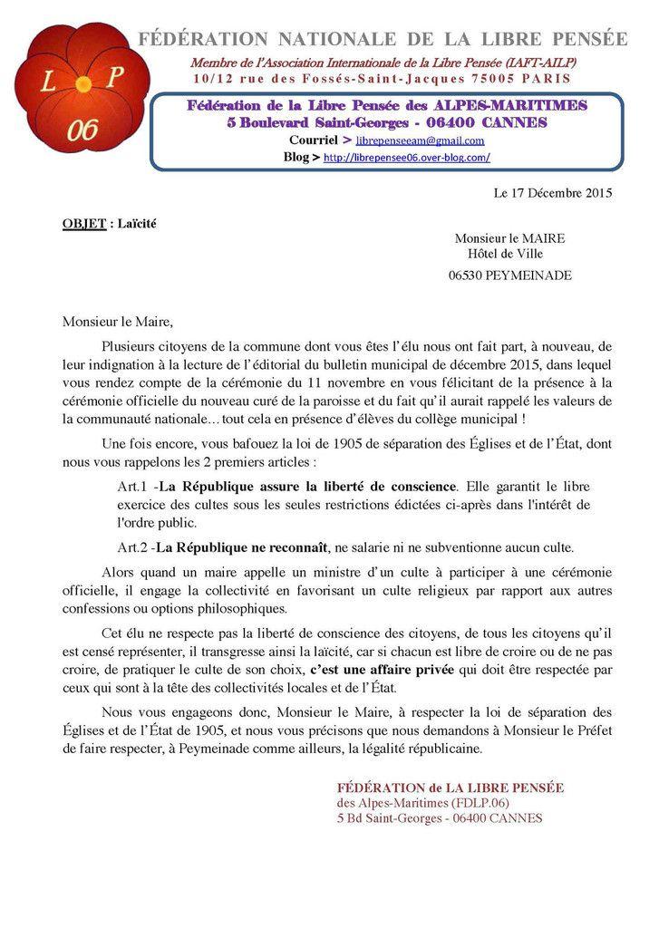 La Libre Pensée écrit au maire de Peymeinade