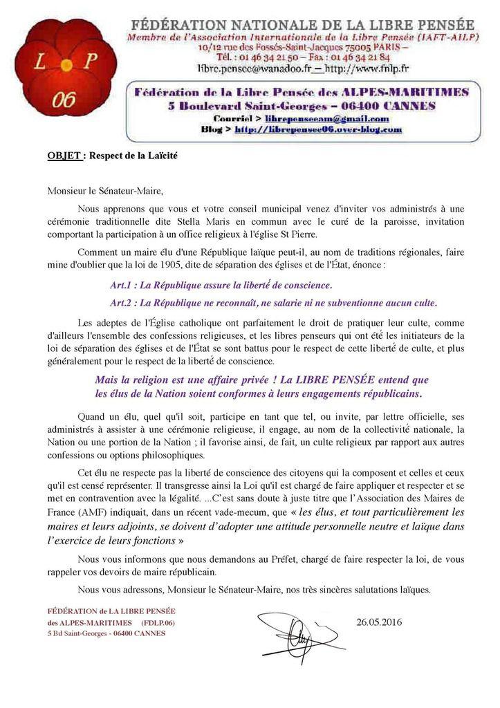 Atteintes à la loi du 9 décembre 1905 dans notre département: la fédération de la Libre Pensée des Alpes-Maritimes écrit au Sénateur-Maire de Cagnes-sur-mer