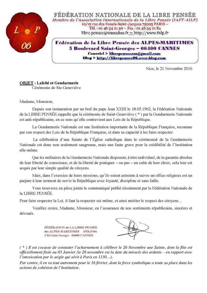 La Libre Pensée rappelle la loi de 1905 aux différentes structures de la gendarmerie des Alpes-Maritimes