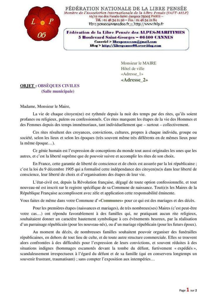 Salles de recueillement pour des obsèques civiles : où en est-on dans les Alpes-Maritimes ? La fdlp06 interroge les maires