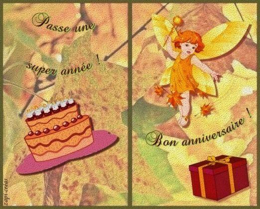 Carte d'anniversaire thème automne