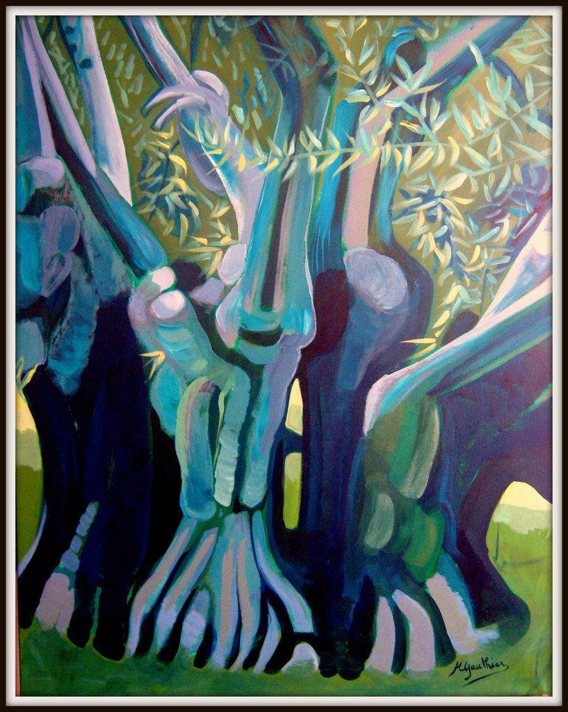 acrylique et pastel sur toile 92 x 73 - disponible