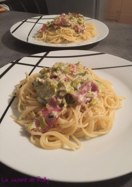 Spaghetti sauce crémeuse au poireau et bacon