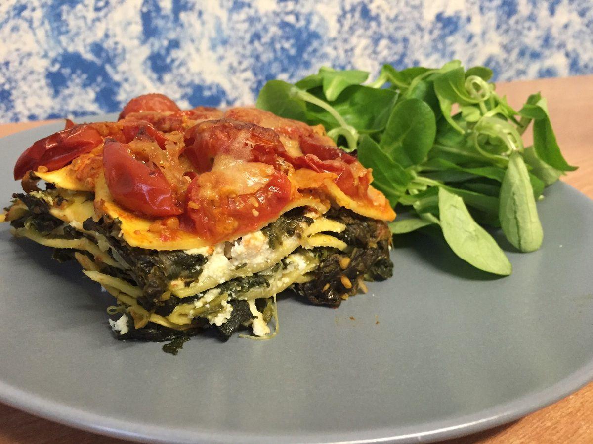 Lasagnes épinards ricotta et tomates cerises