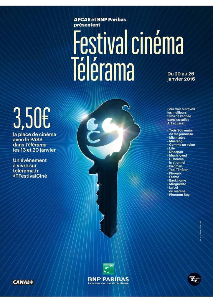 Affiche du festival cinéma Télérama 2016 avec la liste des films sélectionnés