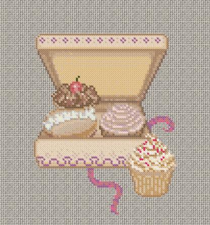 30/08/2015 - Grille de point de croix gratuite - Boite de Cupcakes