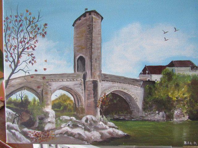 Le Vieux Pont d'Orthez qui enjambe le Gave d'Oloron.