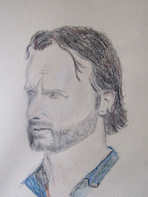 Fan de The walking dead, portrait aux crayons d'Andrew Lincoln