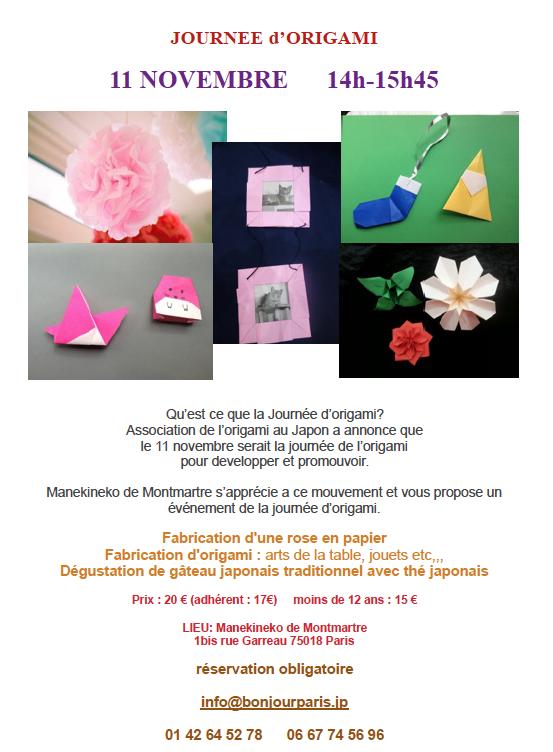 Journée Origami et Programme NOVEMBRE 2016