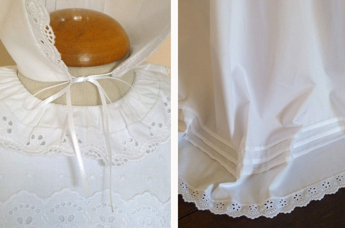 robe de baptême à col volanté