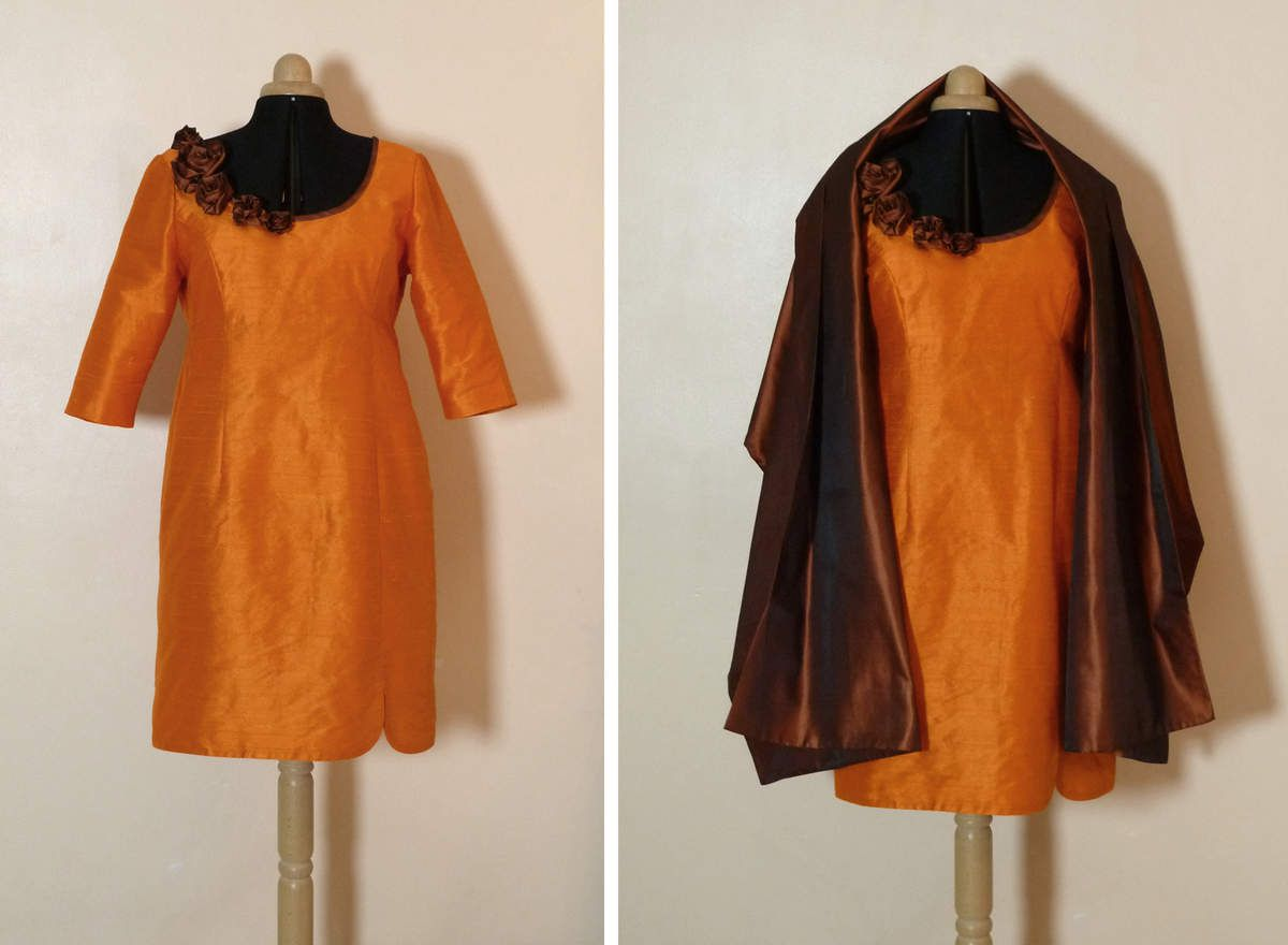 Robe de cocktail soie sauvage orange et soie chocolat reflets mordorés