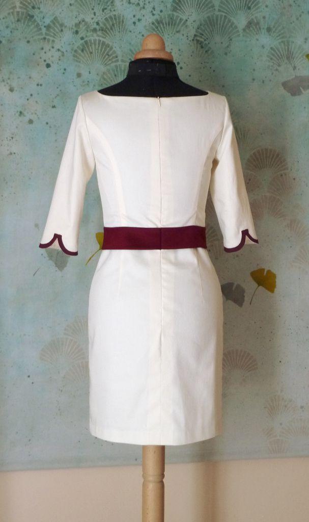 Robe droite en satin de coton Emmanuelle