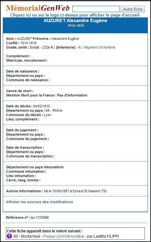 ses fiches geneanet