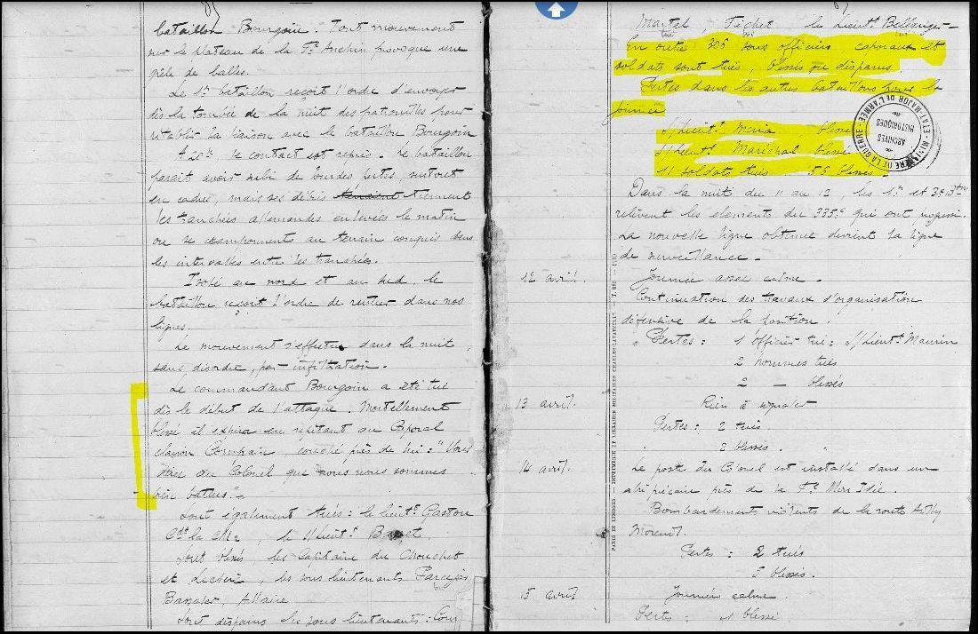 JMO du 90 éme RI journées du 9, 10 et 11 avril 1918