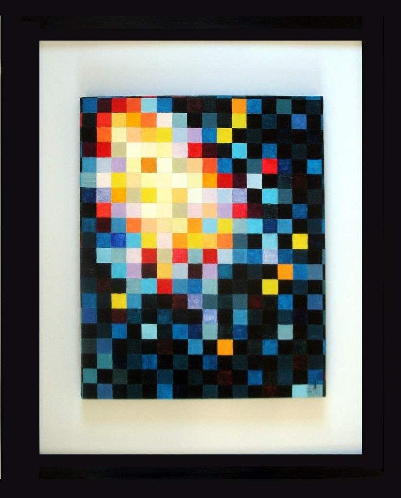 Gertrud Arndt hommage 002 toile acrylique dim 330 mm de long par 410 mm de haut sur cadre de 560/690. Prix sur demande