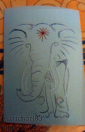 Broderie sur papier éléphant, modèle exclusif du Petit Atelier de Bea