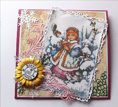 carte Bonne année dies Cheery Lynn Sunflower, Victorian romance flourish and Lace corner