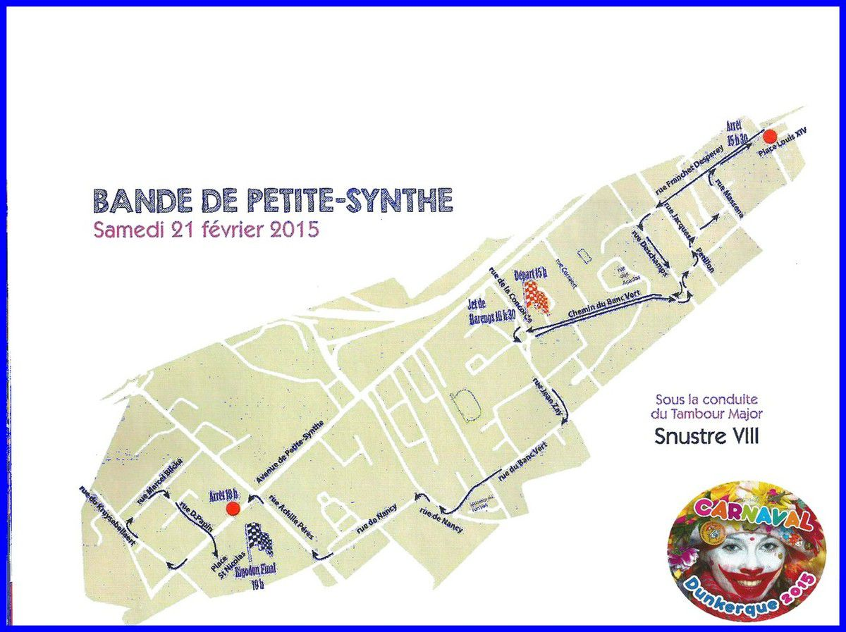 Itinéraires des Bandes du Carnaval de Dunkerque 2015