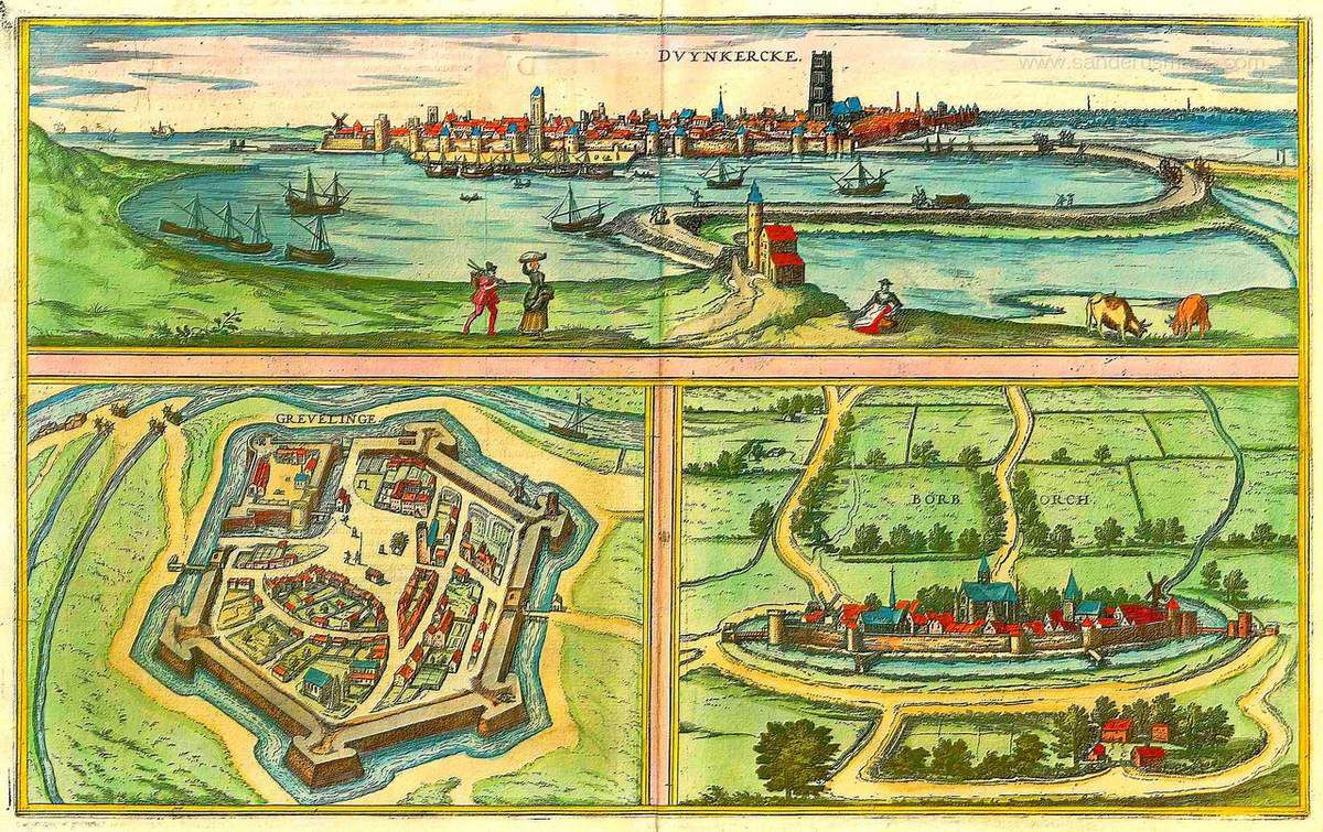 (40 ) Plans, cartes et gravures anciennes de Dunkerque .