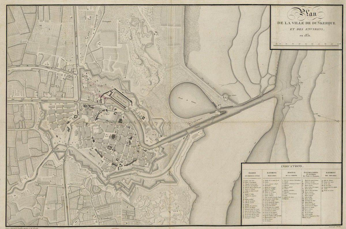 (30 ) Plans, cartes et gravures anciennes de Dunkerque .