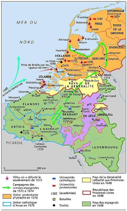 Les Pays-Bas de 1555 à 1648.