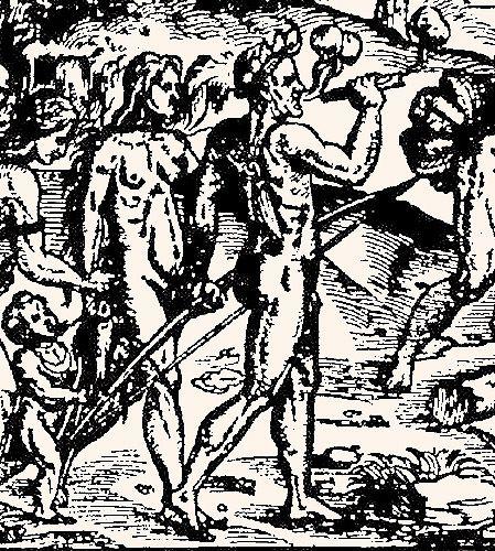 """Indiens Tupi fumant du pétun in André Thevet, """"Les singularitez de la France antarctique, autrement nommee Amerique, & de plusieurs terres et isles decouvertes de nostre temps"""" 1558."""