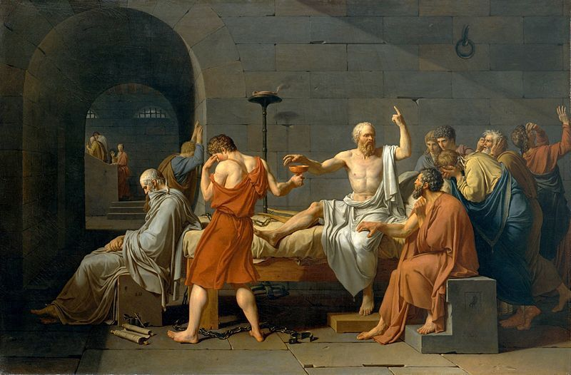 "Jacques-Louis David, ""La mort de Socrate"", 1787, huile sur toile, 130 × 196 cm, Metropolitan Museum of Art de New York."
