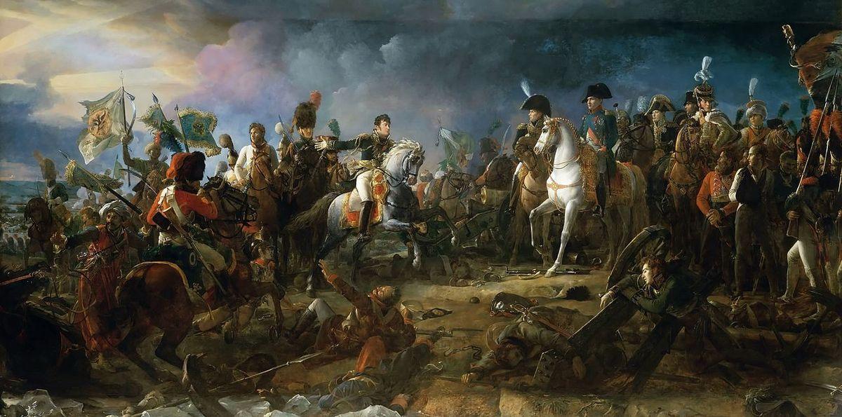 """François Gérard (1770-1837), """"La bataille d'Austerlitz"""" (1810), huile sur toile, 510 × 958 cm, Galerie des batailles, château de Versailles."""