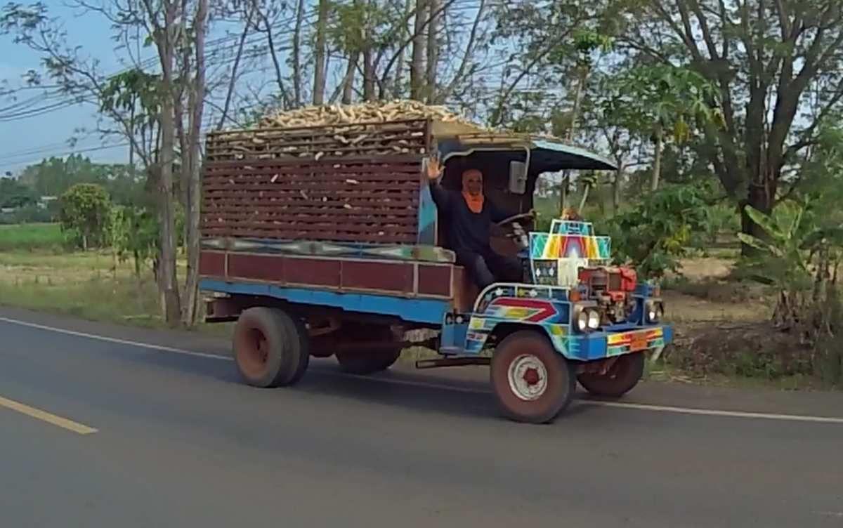 La récolte du manioc que nous avons vu en Chine,  Vietnam et Laos, prend ici des proportions plus industrielles. Les racines de maniocs sont coupées et étalées sur des dales de bétons (dans les pays precedents elles séchaient sur le bord des routes). Lorsqu'elles sont sèches, elles sont mises dans des sacs en toile. Et voilà le repas des cochons. Une odeur fétide se dégage aux abords de ces usines.