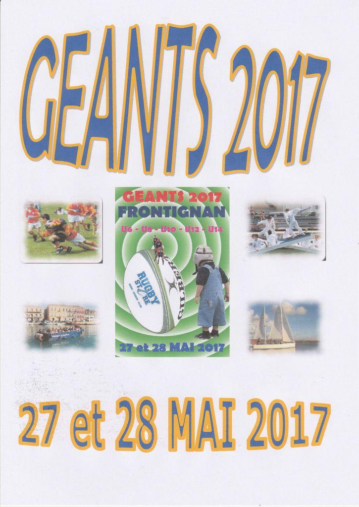 PARTICIPATION AU TOURNOI DES GEANTS DU 27 et 28 MAI 2017 VALIDEE: