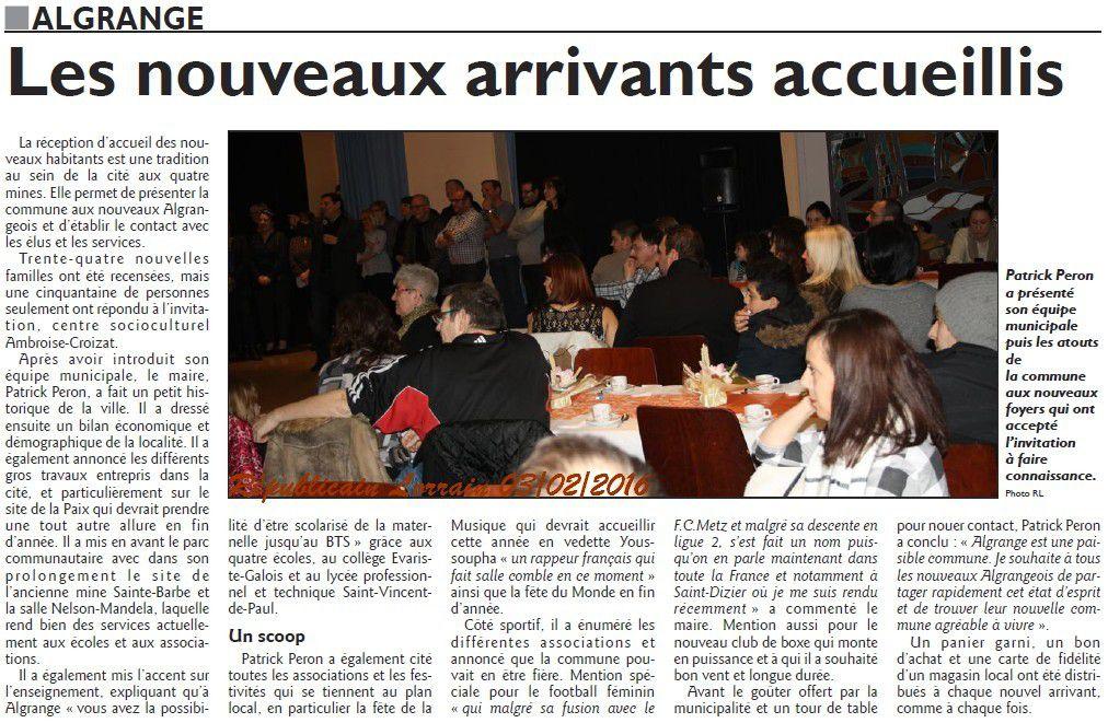 Algrange accueille ses nouveaux habitants 2016