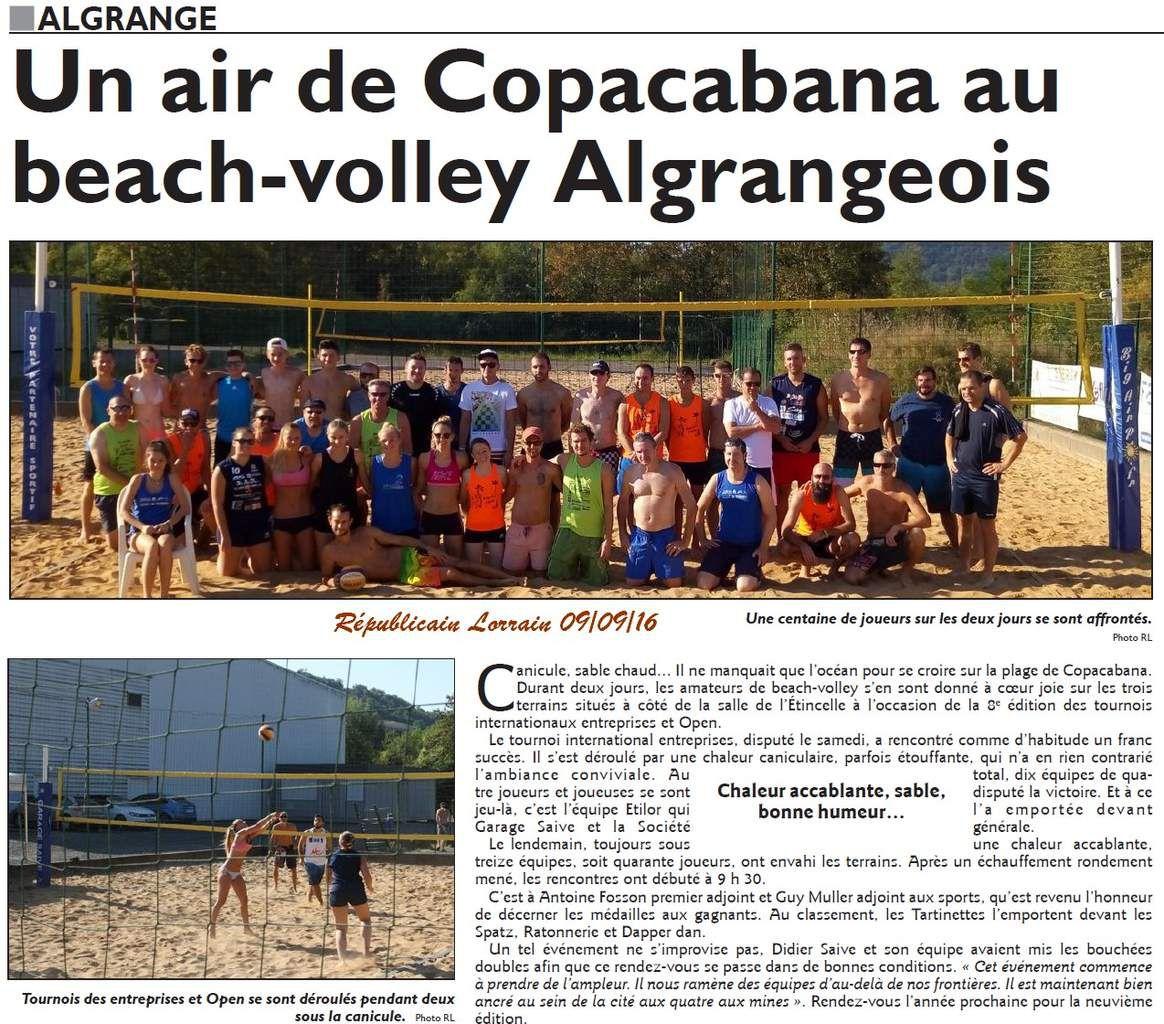 Beach volley tournoi entreprise 2016 Algrange