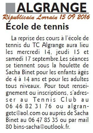 Tennis Algrange reprise 2016