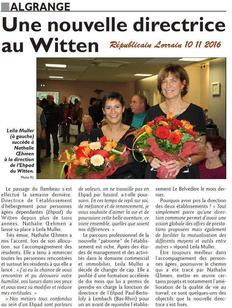 Algrange nouvelle Directrice au Witten