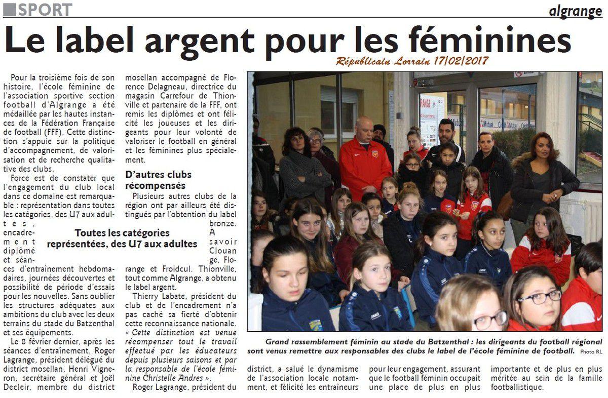 ASA Football féminines Algrange honorée