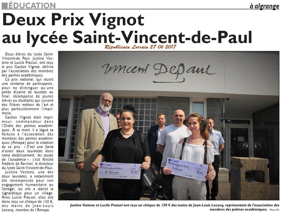 Saint Vincent de Paul Algrange reçoit le Prix Gaston Vignot