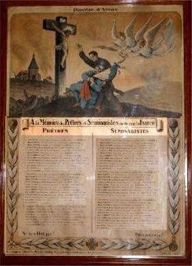 Tableau d'honneur des séminaristes et prêtres morts pour la France - Diocèse d'Arras