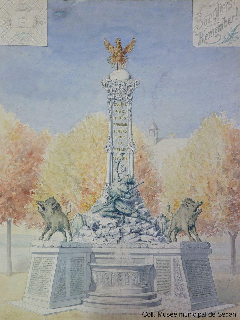 Auguste Théâtre (1867-1954), esquisse pour le monument aux morts de Sedan, aquarelle sur papier, [1920-1924], H.65 &#x3B; L.48 cm, N°INV. 90-3-47, coll. Musée municipal de Sedan  © KL / Musée municipal / Ville de Sedan